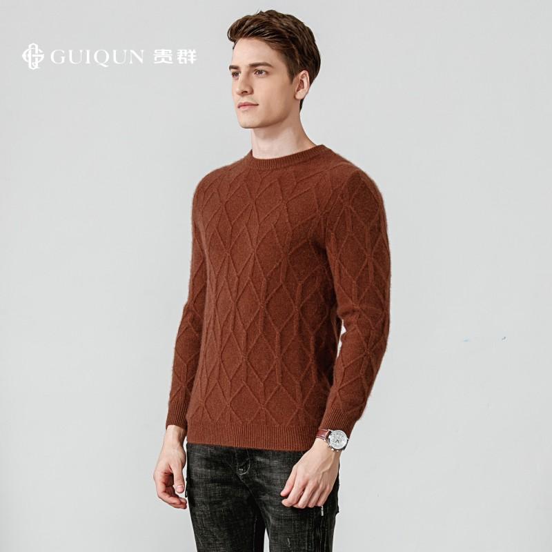 秋冬男士鄂尔多斯万博手机端登录半高领毛衣保暖款式图片GQ3098