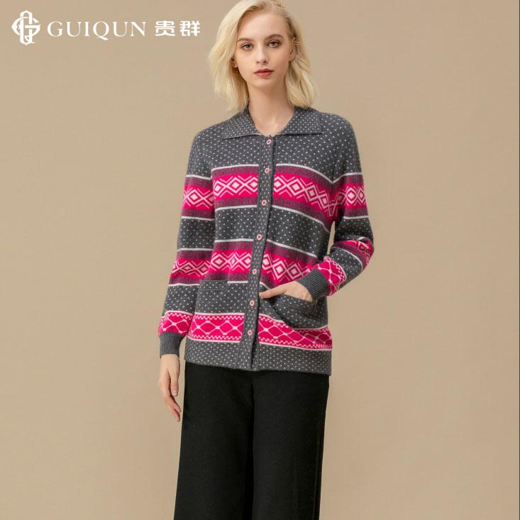 秋冬圆领羊绒女开衫毛衣打底外套宽松图片
