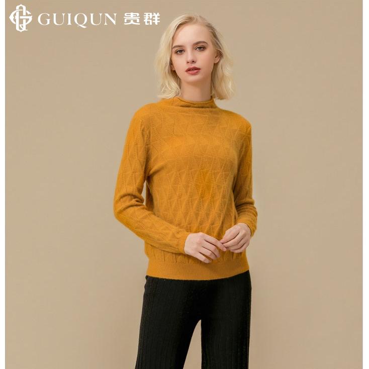 新款秋冬圆领万博手机端登录修身纯色女士毛衣图片