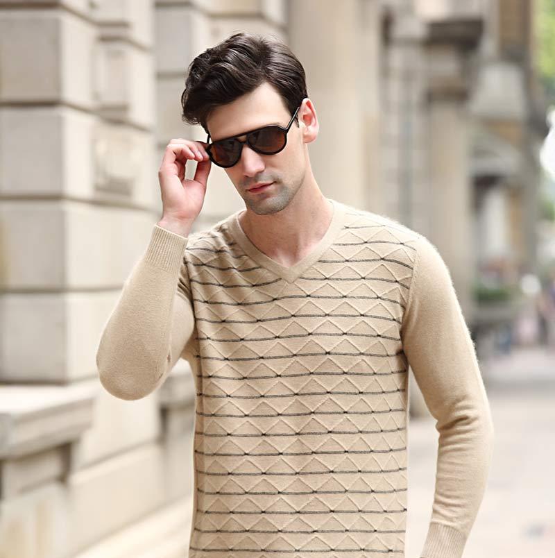 万博官网手机版网页版登录男士V领新款毛衣万博手机端登录修身针织图片GQ1663