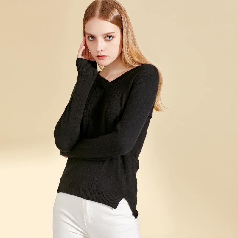 秋冬女士V领乐动体育app咋样图片黑色时尚款式