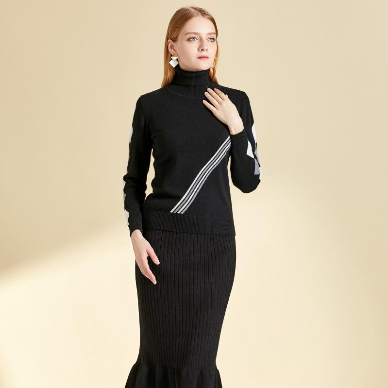 新款女士秋冬羊绒连衣裙圆领修身款式