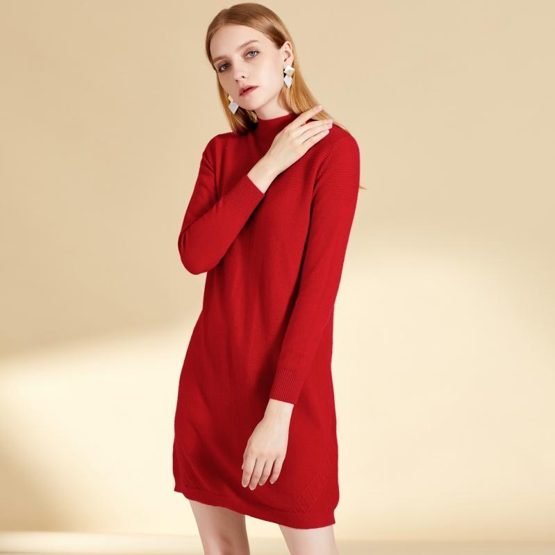 女士秋冬新款万博手机端登录中长款纯色修身连衣裙图片
