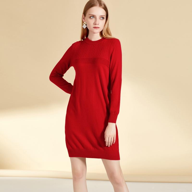 新款秋冬万博手机端登录款式连衣裙纯色中长款图片