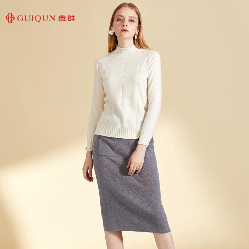 新款鄂尔多斯圆领女士保暖万博手机端登录款式毛衣图片GQ2477