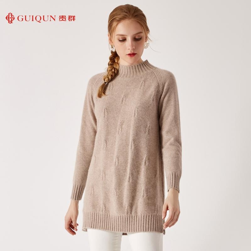 秋冬鄂尔多斯市乐动体育app咋样女士新款中长款纯色毛衣图片GQ2553