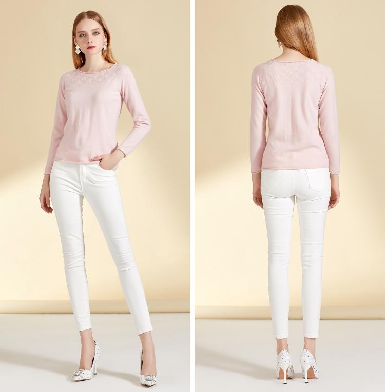 鄂尔多斯市万博手机端登录秋冬女士新款简约粉红套头毛衣图片GQ2578