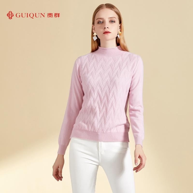 鄂尔多斯市女式简约万博手机端登录圆领套头毛衣GQ2626