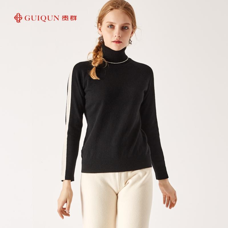 新款鄂尔多斯圆领保暖女羊毛衫修身毛衣图片GQ2655