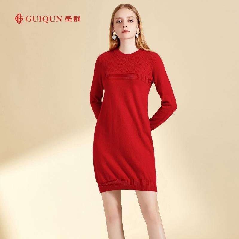 新款鄂尔多斯圆领保暖女羊毛衫连衣裙图片GQ2697