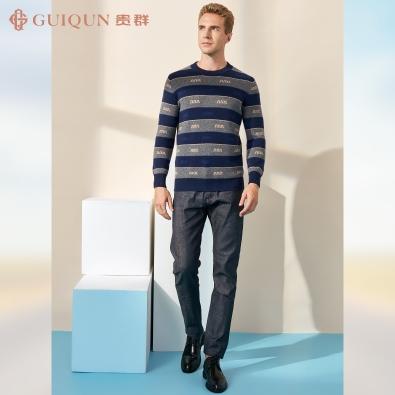 鄂尔多斯市男式贵群羊毛衫羊绒圆领打底款式GQ3204